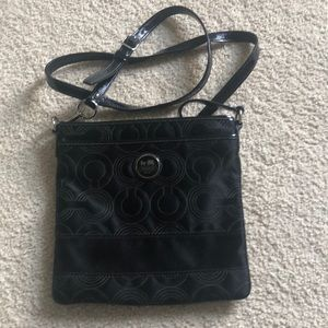 Coach black messenger crossbody bag